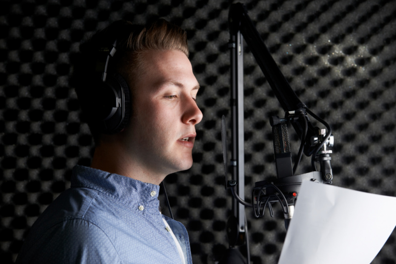 Man In Recording Studio recording voice over